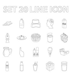 Milk product outline icons in set collection for vector