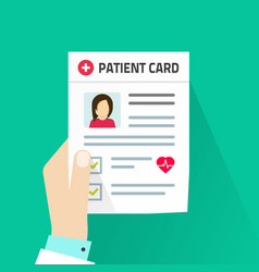 patient card flat cartoon vector image vector image