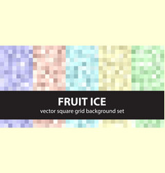 Pixel pattern set fruit ice seamless pixel art vector