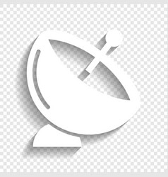 Satellite dish sign white icon with soft vector