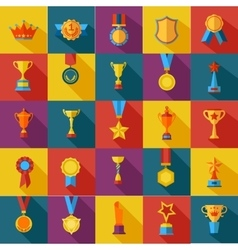 Set of flat awards icons vector image