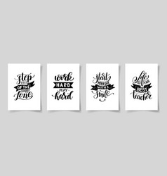 Set of four hand written lettering positive vector