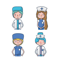 Set professional doctors and nurses vector