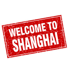 Shanghai red square grunge welcome to stamp vector