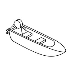 Small metal boat with motor for fishingboat for vector