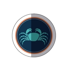 Sticker circular ornament with crab inside vector