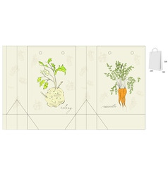 template for bag with vegetable vector image