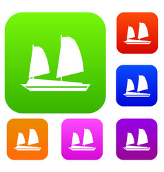Vietnamese junk boat set collection vector