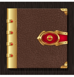 Vintage leather book hardcover vector