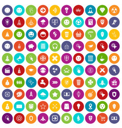 100 interface pictogram icons set color vector