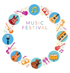 Music instruments icons frame vector