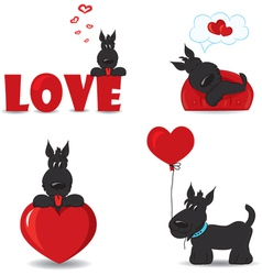 Dogs with hearts vector