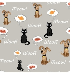 Cat and dog pattern vector image