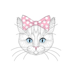 Cute cat portrait with pin up bow tie on head hand vector