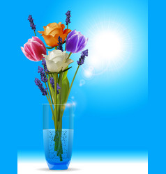 Roses tulips and lavender in a vase onv sunny sky vector