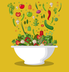 Salad mixed vegetables diet food fall image vector