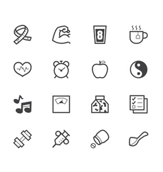 Healthy element black icon set on white background vector