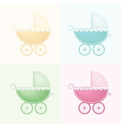 Pastel baby carriage vector