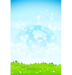 Green Background with Grass Trees Clouds and Plane vector image