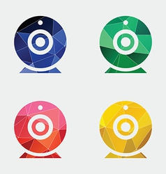 Web camera icon abstract triangle vector