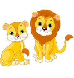 Lion couple vector
