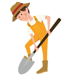 Boy digging with a shovel vector