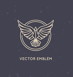 Linear logo design template - eagle emblem vector