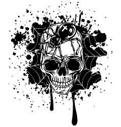 abstract background skull spider and web vector image vector image
