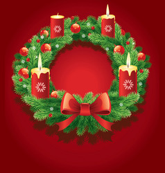 advent wreath with burning candles vector image