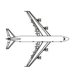 airplane outline icon plane flat isolated line vector image