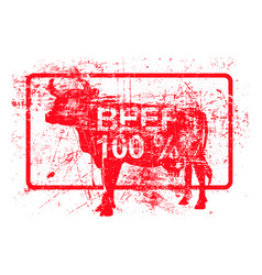 Beef 100 per cent - red rubber grungy stamp in vector