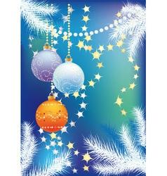 blue christmas background with christmas tree ball vector image