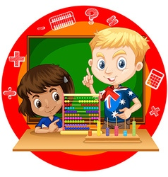 Boy and girl with abacus vector image vector image