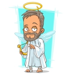 Cartoon holy man with small wings vector image