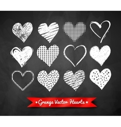 Chalked valentine hearts vector
