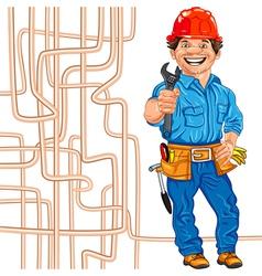 Cheerful locksmith plumber vector