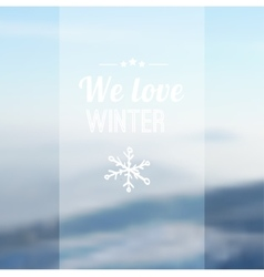 Christmas card with blurred snowy mountain vector