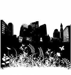 city floral grunge vector image