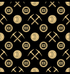 Crypto currency blockchain seamless pattern vector