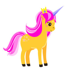 Cute yellow unicorn with pink mane and crown vector