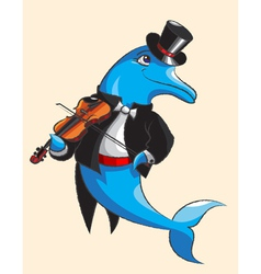 Dolphin and violin vector