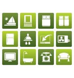 Flat Hotel and motel room facilities icons vector image
