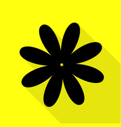 Flower sign black icon with flat vector