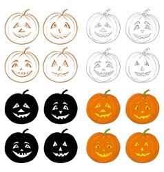 Halloween pumpkins jack o lantern set vector