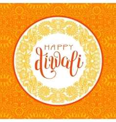 Happy diwali greeting card with circle ornamental vector
