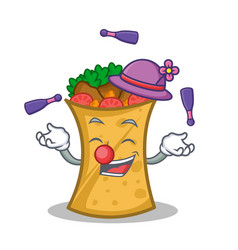 Juggling kebab wrap character cartoon vector
