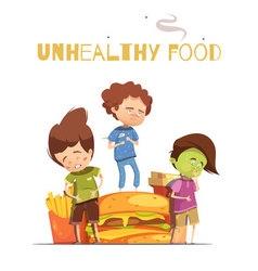 Junk food harmful effects cartoon poster vector