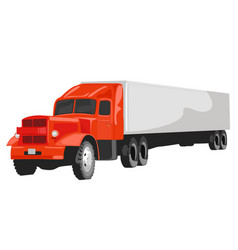 Large red goods vehicle on white background vector