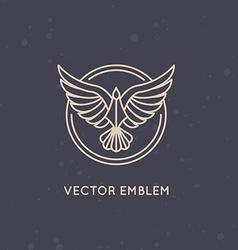 Linear logo design template - eagle emblem vector