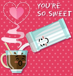 loving couple of coffee or tea cup and sugar bowl vector image vector image